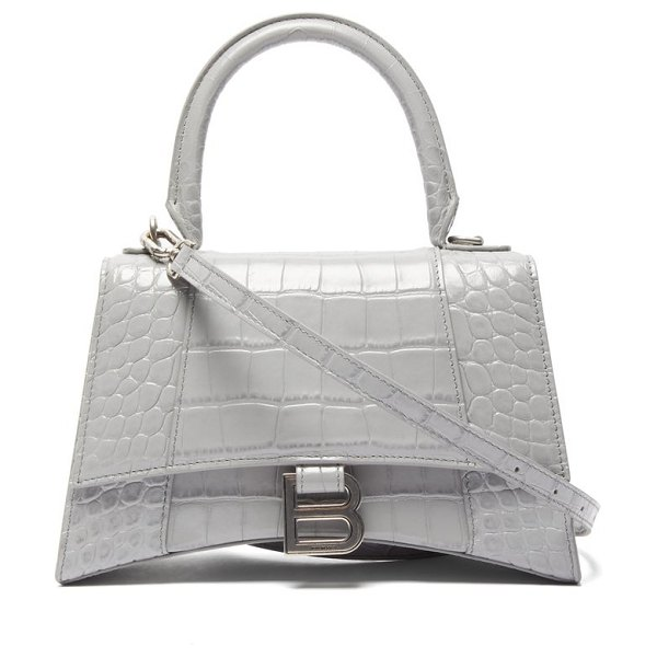 Balenciaga hourglass small crocodile embossed leather bag in grey