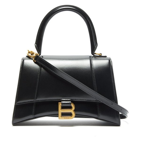 Balenciaga hourglass small leather shoulder bag in black