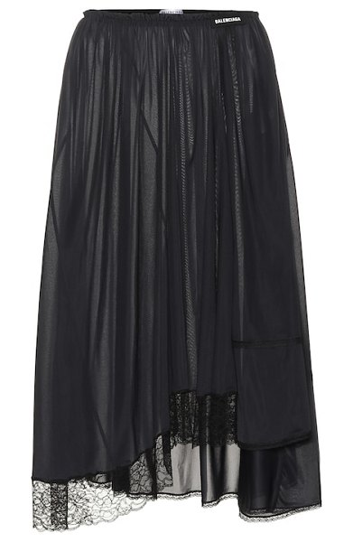 Balenciaga Lace-trimmed jersey skirt in black - Balenciaga's fluid skirt has been crafted in Italy from...