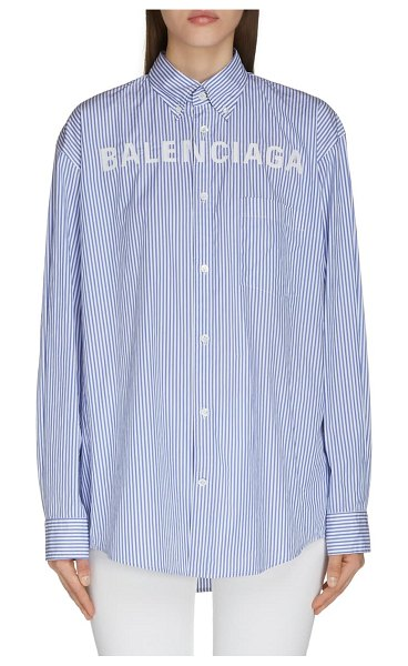 Balenciaga logo collegiate stripe shirt in blue/ white