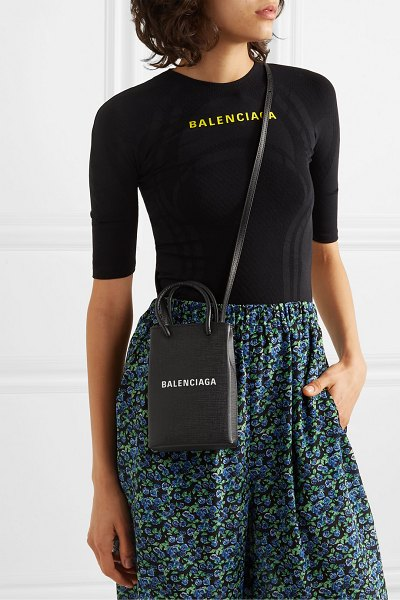 Balenciaga shopping mini printed textured-leather shoulder bag in black