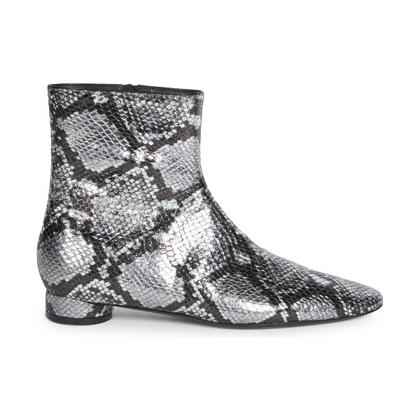 Balenciaga oval block-heel snakeskin-embossed leather ankle boots in silver