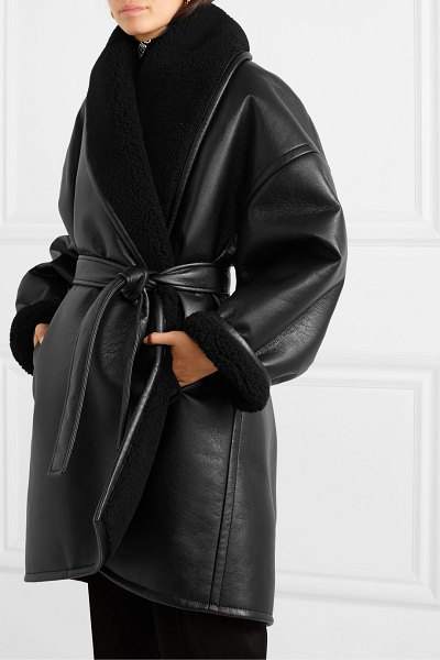 Balenciaga oversized belted faux shearling-trimmed faux leather coat in black