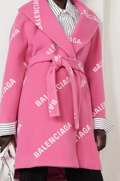 Balenciaga oversized belted printed wool, cashmere and silk-blend coat in bubblegum