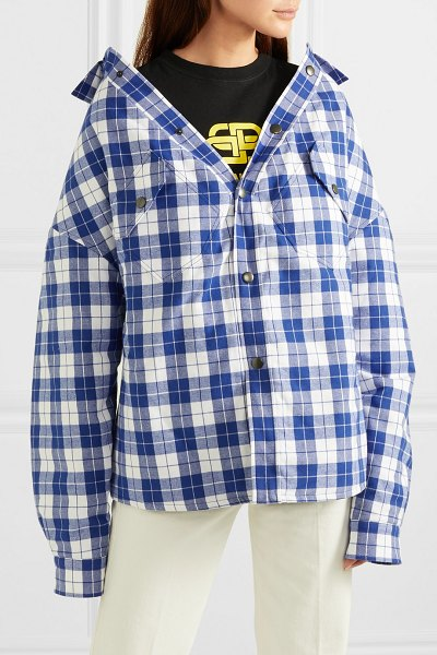 Balenciaga oversized checked quilted cotton-flannel shirt in blue