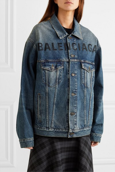 Balenciaga oversized embroidered denim jacket in blue