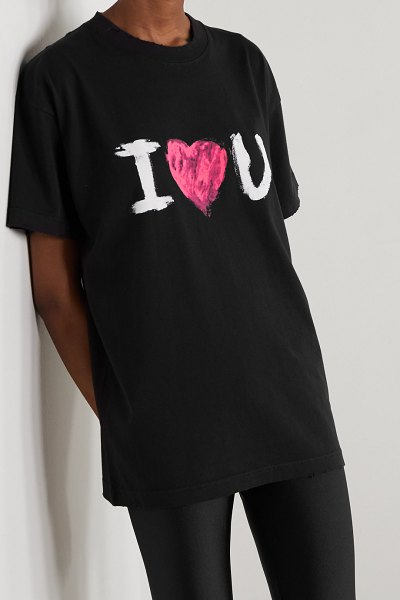 Balenciaga printed cotton-jersey t-shirt in black