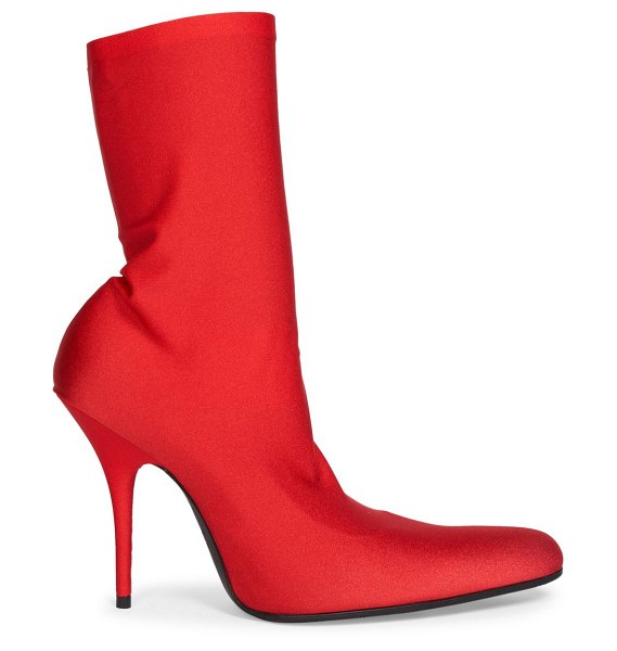 Balenciaga round knit stiletto ankle boots in rouge