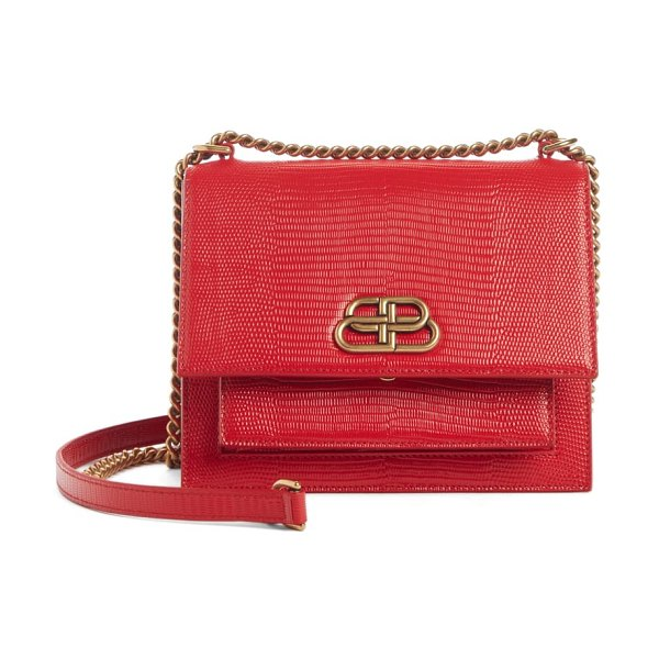 Balenciaga sharp reptile embossed lambskin leather shoulder bag in vivid red