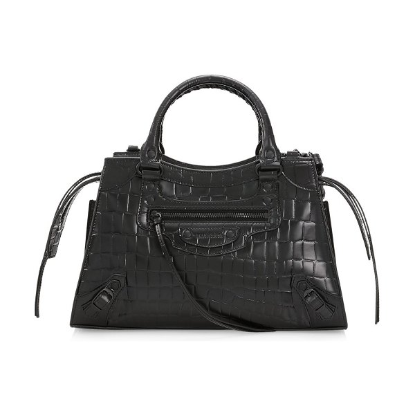 Balenciaga small croc-embossed leather top handle bag in noir