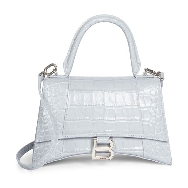 Balenciaga small hour croc-embossed leather top handle bag in grey