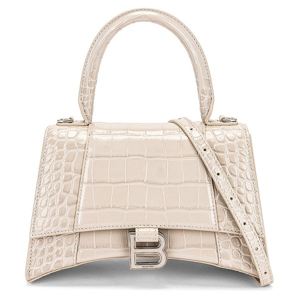 Balenciaga small hourglass top handle bag in cold beige
