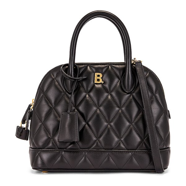 Balenciaga small quilted leather ville top handle bag in black