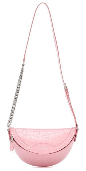 Balenciaga souvenirs xxs croc-effect belt bag in pink