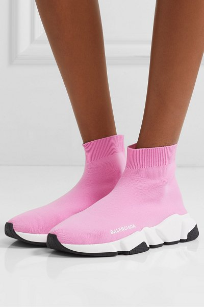 Balenciaga speed stretch-knit high-top sneakers in pink