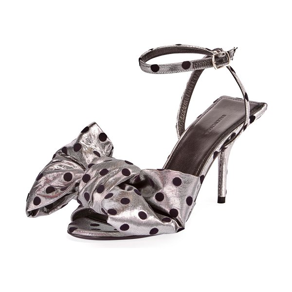 Balenciaga Square Knife Bow Polka-Dot Sandals in silver