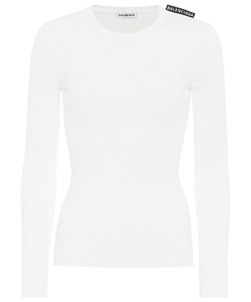 Balenciaga technical ribbed-knit top in white
