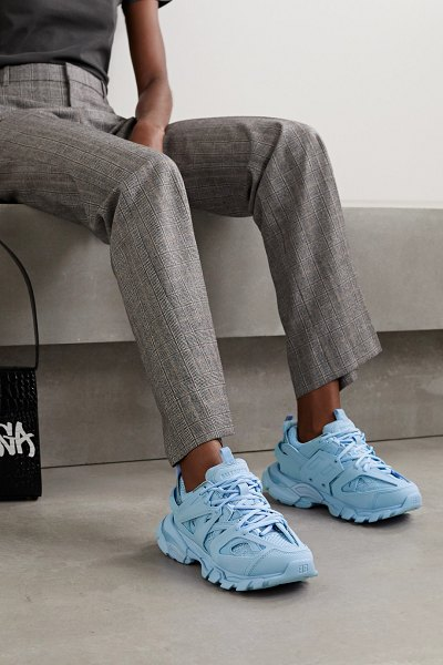 Balenciaga track logo-detailed mesh and rubber sneakers in light blue