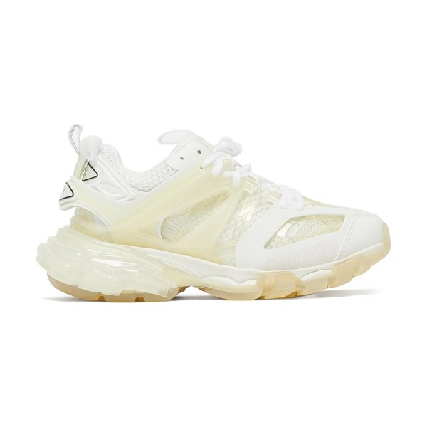 Balenciaga track panelled faux-leather trainers in cream