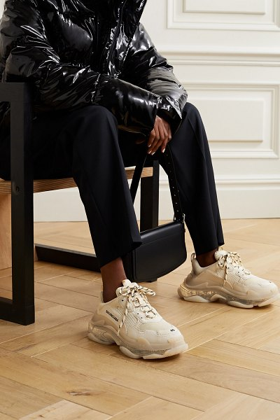 Balenciaga triple s clear sole logo-embroidered leather, nubuck and mesh sneakers - off-white in white