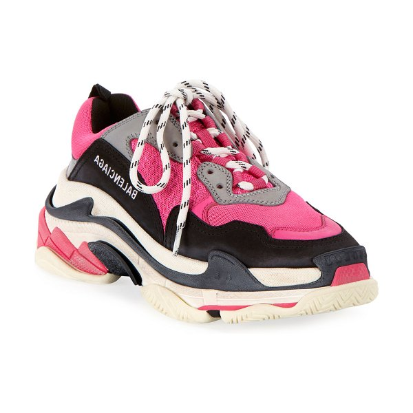 Balenciaga Triple S Fluo Mesh Trainer Sneakers in fluo pink grey wh
