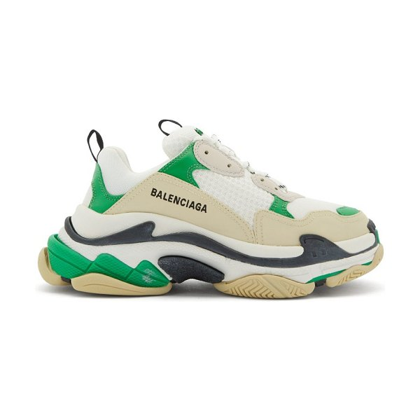 Balenciaga triple s leather and mesh trainers in green white