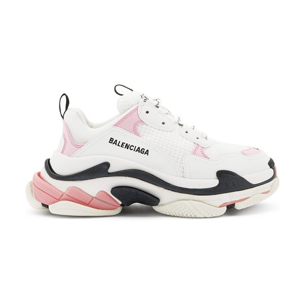 Balenciaga triple s leather and mesh trainers in pink white
