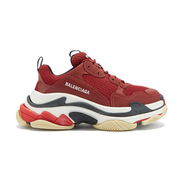 Balenciaga triple s leather and mesh trainers in burgundy