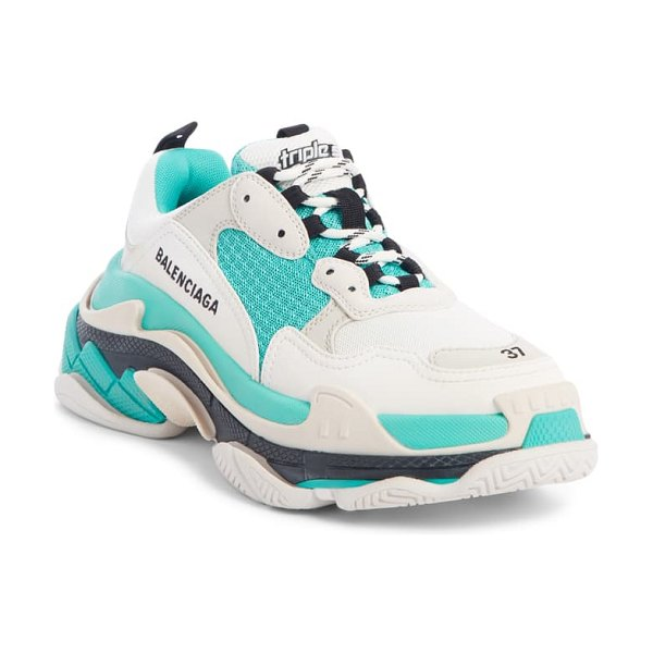 Balenciaga triple s low top sneaker in white/ turquoise