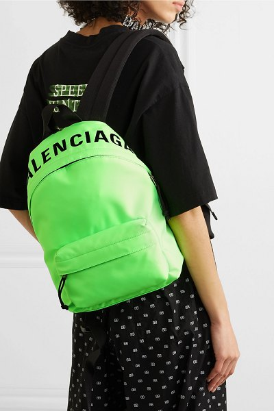 Balenciaga wheel neon embroidered shell backpack in green