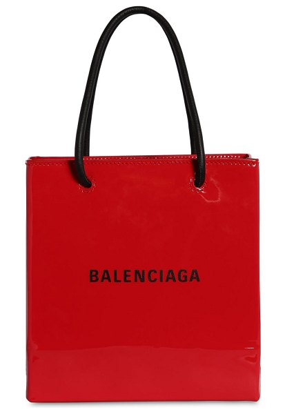 Balenciaga Xxs patent leather shopping tote in bright red