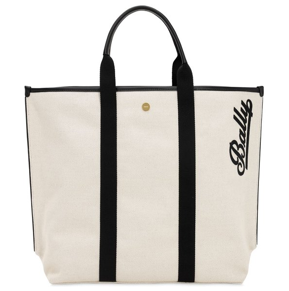 Bally Logo embroidered canvas tote in naturale