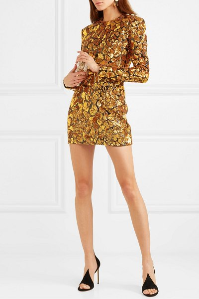Balmain button-embellished sequined crepe mini dress in gold