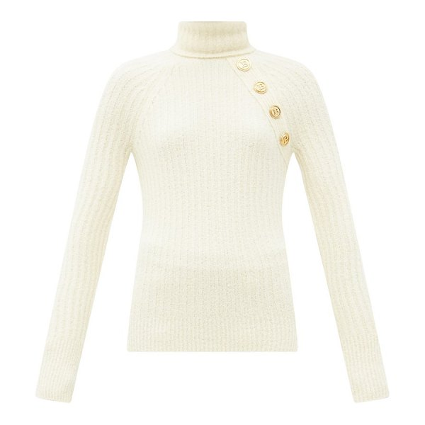 Balmain button roll-neck wool-blend sweater in cream
