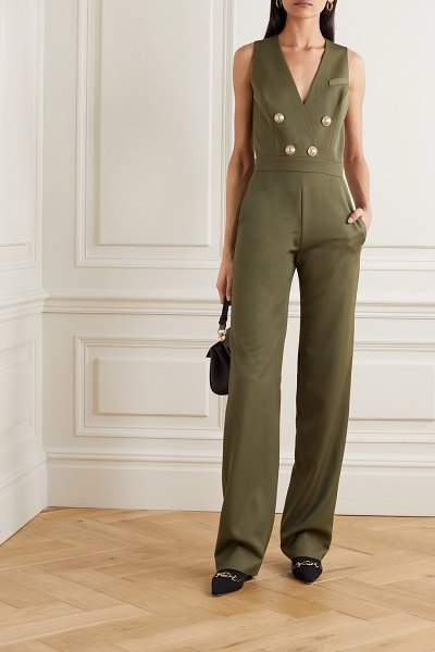 Balmain buttoned-embellished wool jumpsuit in army green