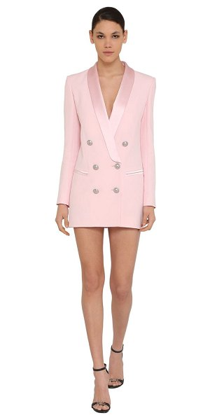 Balmain Crepe & satin mini jacket dress in pink