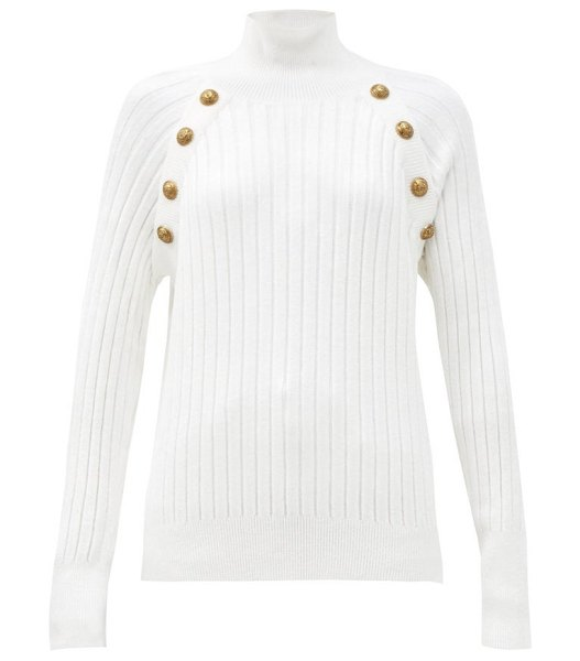 Balmain crest-button ribbed high-neck sweater in white