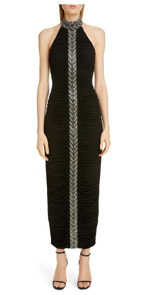 Balmain embellished stripe halter gown in noir