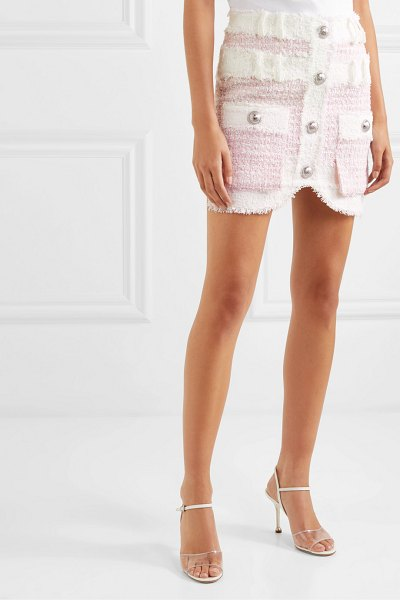 Balmain embellished tweed mini skirt in pink
