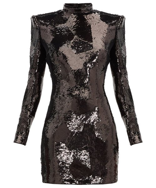 Balmain exaggerated shoulder sequinned mini dress in black