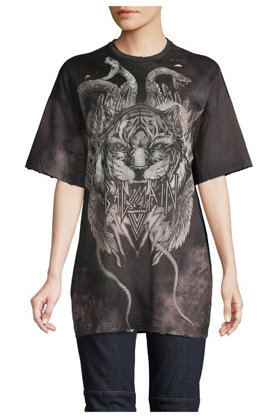 Balmain Graphic Oversized Cotton Tee in black