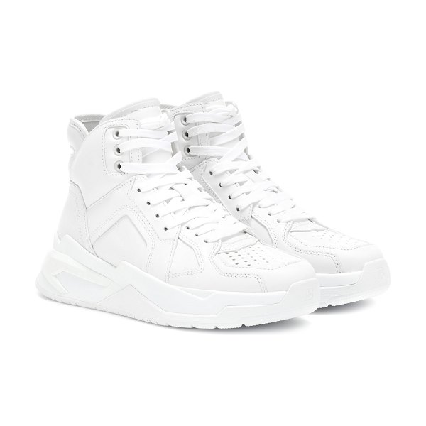Balmain high-top leather sneakers in white