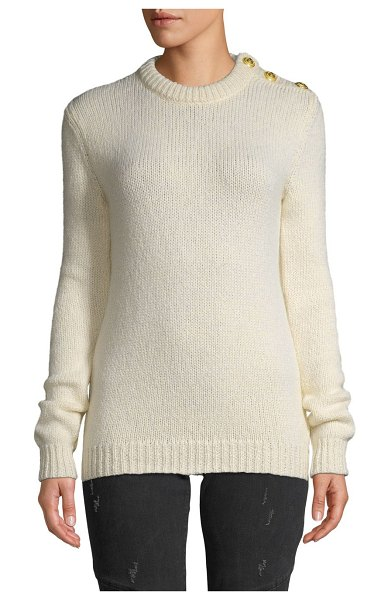 Balmain Knit Buttoned Sweater in white