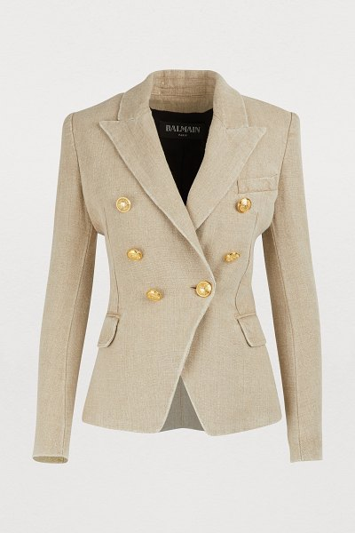Balmain Linen jacket in 0kf ficelle - The school uniform is undoubtedly the main source of...
