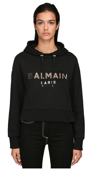 Balmain Mirrored logo cropped jersey hoodie in black,silver