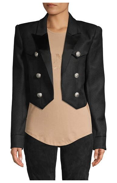 Balmain Open-Front Cropped Jacket in black