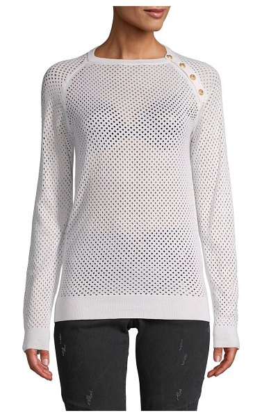 Balmain Perforated Silk & Cashmere-Blend Sweater in white