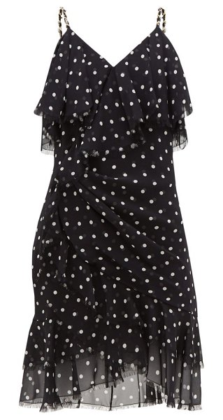 Balmain ruffled polka-dot silk-georgette mini dress in black white