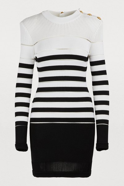 Balmain Striped mini dress in noir/blanc - The attention to detail in the Balmain collections...