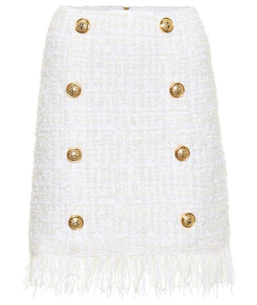 Balmain Tweed miniskirt in white - Fall in line with Balmain's beloved military-inspired...